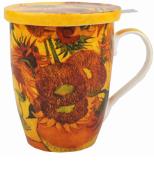 Van Gogh Sunflowers Tea Mug with Infuser and Lid